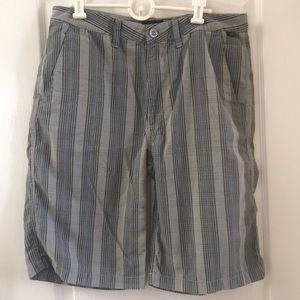 Vans gray black blue stripe twill shorts 34